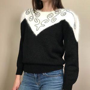 Vintage 80s Black White Angora Blend Sweater
